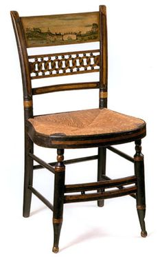 American Federal Paint Decorated Fancy Side Chairs Landscape