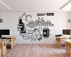 The Product Design Office Wall Decor is ideal for quickly and easily transform any office workspace. Office Wall Graphics, Office Wall Decals, Office Mural, Office Walls, Office Decor, Office Ideas, Office Wall Design, Office Interior Design, Office Interiors