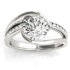 Diamond Tension Set Engagement Ring Setting 14K White Gold (0.19ct) Style# NG78434