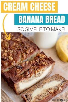 Cream Cheese Filled Banana Bread - Southern Plate - Cakes w fruits - Yorgo Banana Bread Cream Cheese, Cream Cheese Muffins, Cream Cheese Recipes, Cream Cheese Filling, Banana Cream, Ice Cream, Cream Cake, Banana Bread Recipes, Apple Recipes