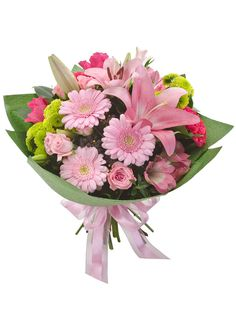 Sweetness is pretty as a picture! Brimming with gorgeous pink lilies, gerberas and peruvian lilies, this darling bouquet is dressed to impress.