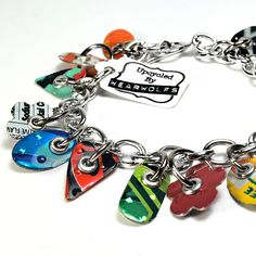 Recycled Jewelry Soda Can Charm Bracelet by wearwolf on Etsy