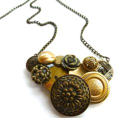 Check out our button jewelry selection for the very best in unique or custom, handmade pieces from our necklaces shops. Button Necklace, Pendant Necklace, Statement Jewelry, Jewelry Necklaces, Jewelry Crafts, Handmade Jewelry, Vintage Buttons, Jewelry Making, Chain