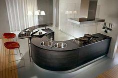 Cocinas redondeadas minimalistas