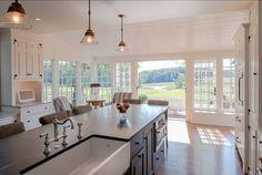 Open kitchen layout, windows