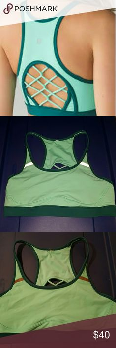 Lululemon bra Green sweaty or not bra size 10. Reposh...gorgeous but too small. 2nd pic with flash showing reflective parts. lululemon athletica Intimates & Sleepwear Bras