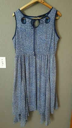 Women's Alex Marie Geometric Blue Chiffon Dress Asymmetrical Hem Size 12 #AlexMarie #AsymmetricalHem