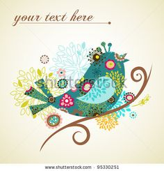 greeting card with bird - stock vector
