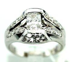 14k White Gold 2.0CT Diamond Anniversary Ring sz 7 B41. #Diamondring