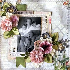 Layout by Cari Fennell for Prima/ Sizzix using Fairy Rhymes, Arbor Prima Die and Prima Stencil #sizzix #primamarketing
