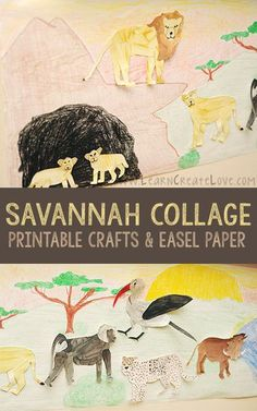 We enjoyed making this savannah collage with the african animals we crafted recently. My 7 year-old was really into this. She helped draw the background, pond, and mountain, and did the majority of Animal Activities, Animal Crafts, Savannah Craft, African Savanna Animals, Grassland Habitat, Preschool Art, Preschool Themes, Kids Art Class, Animal Habitats