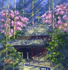 Temple in the forest Fantasy Places, Fantasy World, Fantasy Art, Fantasy Landscape, Landscape Art, Photo Manga, The Garden Of Words, Casa Anime, Anime Places