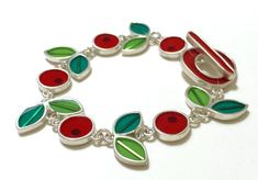 Resin and silver Cherry bracelet #Cherries