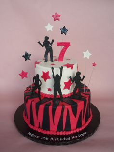 In true rock star fashion her cake incorporated the wild design of her invite and gumpaste silohuetted dancers! Disco Party, Disco Cake, Teen Cakes, Girl Cakes, Cupcakes, Cupcake Cakes, Dance Birthday Cake, Birthday Cakes, Birthday Ideas