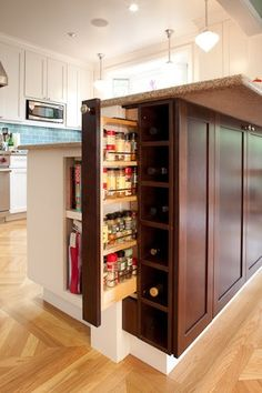 Love This Kitchen Storage Idea! For On The End Of The Island Near The Stove