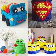 cesta de croche com fio de malha infantil - DIY - artesanato