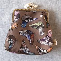 handmade coin purse with colorful little pigeon print! $25.00 from franjedesign on Etsy