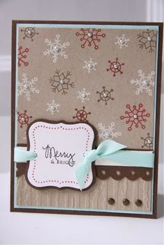 chocolate brown and pale blue theme for Christmas cards. Homemade Christmas Cards, Christmas Cards To Make, Xmas Cards, Homemade Cards, Holiday Cards, Cards Diy, Merry Christmas, Scrapbooking, Scrapbook Paper Crafts