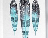 Watercolor Painting - Feather Art - Large Archival Print - 11x14 Taos Feathers