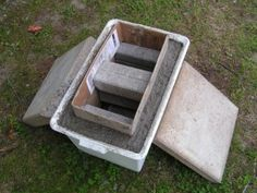Using simple objects as moulds for hypertufa containers. Use bricks and concrete slabs for weights.