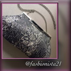 """FLASH SALEHPNWT CACHE Gorgeous Purse Gorgeous NWT Cache purse. Has a silver metal chain strap that detaches so that you can use it as a clutch. Black and beige and gold accents. With silver beads layered on the bag. Brand new never used. Paid 118$ plus tax 8 1/2"""" opening 12"""" widest pt 7"""" deep strap 23"""" drop new with tags❤️HP ❤️ Cache Bags"""