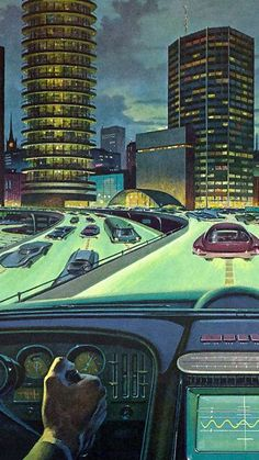 Strange vision of the future. Looks slmost normal- until you realize the freeway is luminous, and the cars are centered over the guidelines. Futuristic Art, Futuristic Architecture, Circular Buildings, World Of Tomorrow, Science Fiction Art, Googie, Sci Fi Art, Illustrations, Thing 1