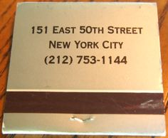 One51, NYC (Back) #matchbook To order your business' own branded #matchbooks and #matchboxes, go to www.GetMatches.com or call 800.605.7331 today!