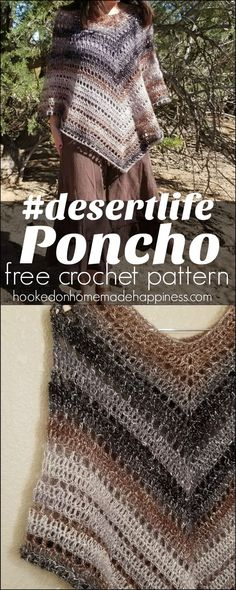 I named this poncho Poncho because this is about as cozy as we get here in the desert! It's still a bit warm around here and I think this is a wearable I can actually wear. Poncho Crochet, Knit Or Crochet, Crochet Scarves, Crochet Clothes, Crochet Stitches, Crochet Patterns, Crochet Sweaters, Shawl In A Ball, Crochet Accessories