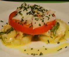 Ensalada templada de bacalao, patata y tomate
