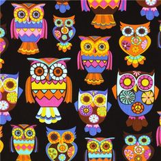 black designer fabric with colourful embellished owls designed by Toxi Dixon