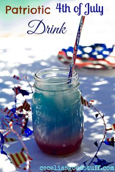 Patriotic 4th of July Drink - made with gatorade, cranapple juice and coconut milk. Tasty treat your Fourth of July celebration. CeceliasGoodStuff.com | Good Food for Good People