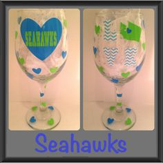 Seattle Seahawks Wine Glass Chevron.. can by CreateBeautywithLove, $20.00
