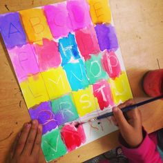 Fun alphabet art for kids! A great way to introduce writing their ABC letters with preschool and kindergarten kids! Fall Art Projects, Classroom Art Projects, Art Projects For Adults, Toddler Art Projects, Art Classroom, Classroom Ideas, First Grade Art, First Art, Kindergarten Art Lessons