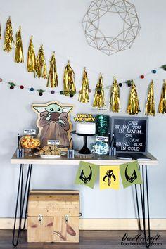 Mandalorian Baby Yoda Birthday Party DIY and Giveaway! DIY a Mandalorian and Baby Yoda themed birthday party! Star Wars Birthday, Star Wars Party, Diy Birthday, Birthday Party Decorations, Party Favors, Birthday Parties, Frozen Birthday, Star Wars Font, Epic Party