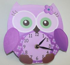 Purple Sweet Little Owl Wooden WALL CLOCK for Girls by ToadAndLily, $45.00