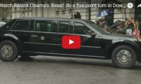 "We'd do it in six… US President Watch Barack Obama's 'Beast' do a Five-point Turn  Barack Obama's armoured limousine, nicknamed the ""The Beast"", performs a five-point turn in a very narrow Downing Street..."