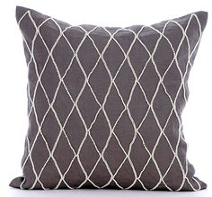 Renovate - 16x16 Pearl Embroidered Brown Linen Throw Pillow.
