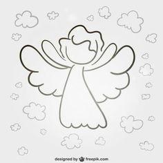 Angel line art vector Desenho Kids, Christmas Angels, Christmas Crafts, Wings Sketch, Angel Vector, Line Art Vector, Angel Drawing, Angel Images, Valentines Day Background