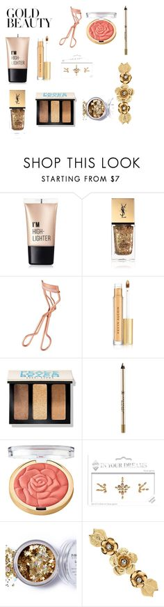"""""""Gold All Around"""" by yellow-rainbow-ninja0509 ❤ liked on Polyvore featuring Charlotte Russe, Yves Saint Laurent, Tweezerman, Kevyn Aucoin, Bobbi Brown Cosmetics, Anastasia Beverly Hills, Milani, In Your Dreams and Matthew Williamson"""