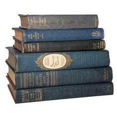 Set of Denim Blue & Gold Old Books for Decor Book Gifts