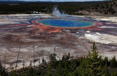 """The Grand Prismatic Spring the largest in the United States and third largest in the world is seen in Yellowstone National Park Wyoming June 22 Photo credit: Jim Urquhart / Reuters Yellowstone National Park Usa, National Parks, Yellowstone Nationalpark, Yellowstone Volcano, Yellowstone Camping, Places Around The World, Around The Worlds, Nationalparks Usa, Paris Match"