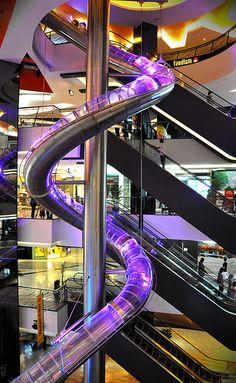 """Worlds largest indoor glow stick slide at the """"FX Mall"""" in Jakarta Indonesia"""