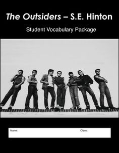 The Outsiders - Complete Vocabulary Study Package - 13 pages - Printable Student Worksheets - Answer Key with Definitions - Vocabulary Test.