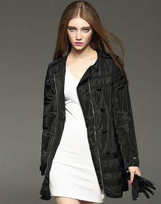 Black Long Sleeve Zipped Single Breasted Ruffle Coat, Black, YUJIA | VIPme