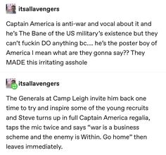 God I love Steve for being what America isn't. Marvel Memes, Marvel Dc Comics, Marvel Avengers, Stucky, Marvel Characters, Marvel Cinematic Universe, Captain America, Deadpool, Nerdy