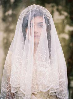 Romantic, intricate bridal veil.