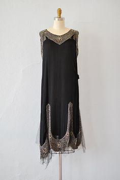 vintage 1920s black silk chiffon deco beaded dress