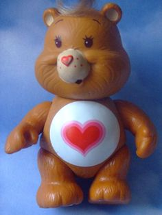 I had a few of these bears but never a lot. My sister was so sweet, she made me a version of Care-a-Lot out of a cardboard box and little paper and popsicle stick bears. Vintage Toys 80s, Retro Toys, Vintage Barbie, Care Bears Vintage, 1990s Toys, 80s Stuff, Retro Advertising, Bear Birthday, Rainbow Brite