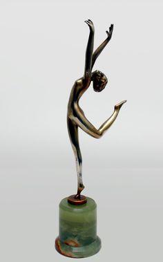 An Art Deco silvered bronze by Lorenzl, Vienna circa 1930.
