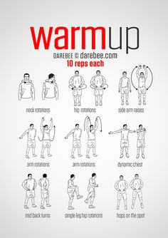 Workout warm up - PreWorkout WarmUp (always warmup before your workout and then stretch after) Fitness Workouts, Gym Workout Tips, Workout Warm Up, Workout Challenge, Yoga Fitness, At Home Workouts, Health Fitness, Gym Warm Up, Weekly Gym Workouts